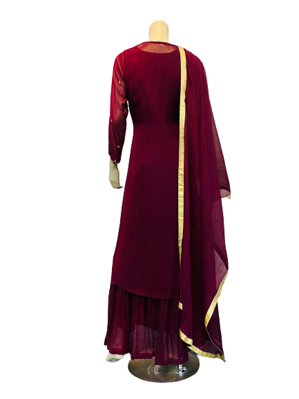 Maroon with Golden Line Anarkali Gown