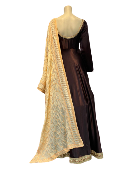 Maroon and Off yellow Anarkali Gown