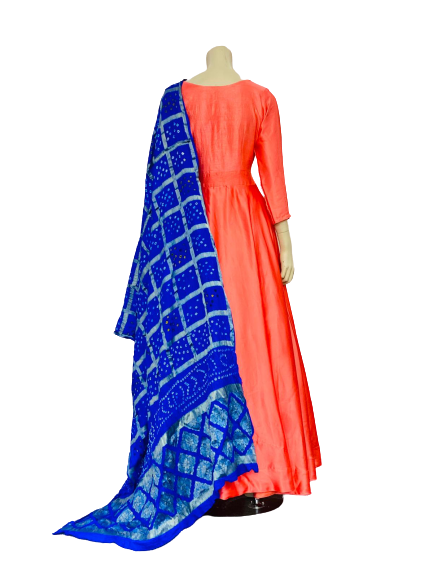 Orange and Blue New Design Anarkali Gown