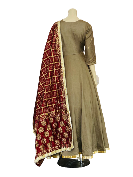 Brown and Red Anarkali Gown