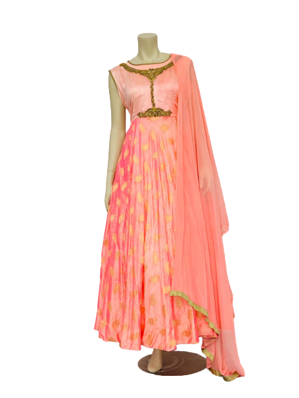 Pink with Golden Design Anarkali Gown