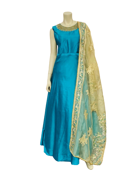 Green and Yellow Anarkali Gown