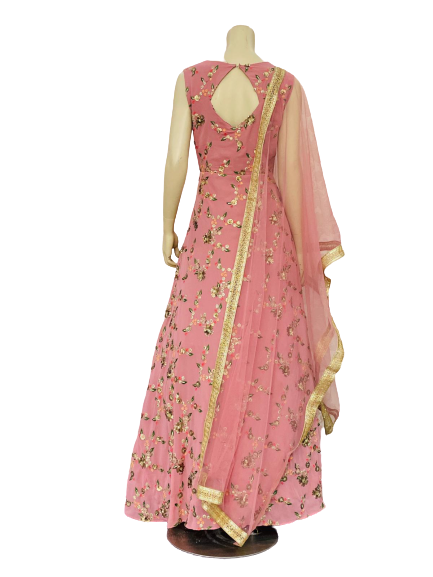 Off Pink Anarkali Gown