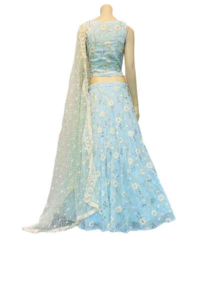 Ice Blue embroidered Lehenga Choli