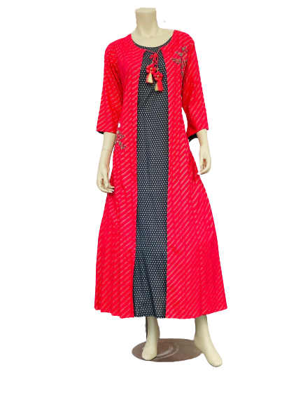 Red and Black Dotted design Kurti