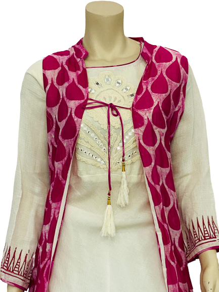 Pink and White Color Kurti