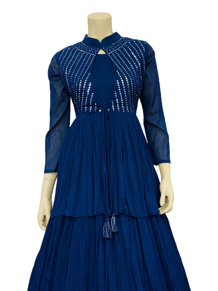 Blue Color Line Kurti Design