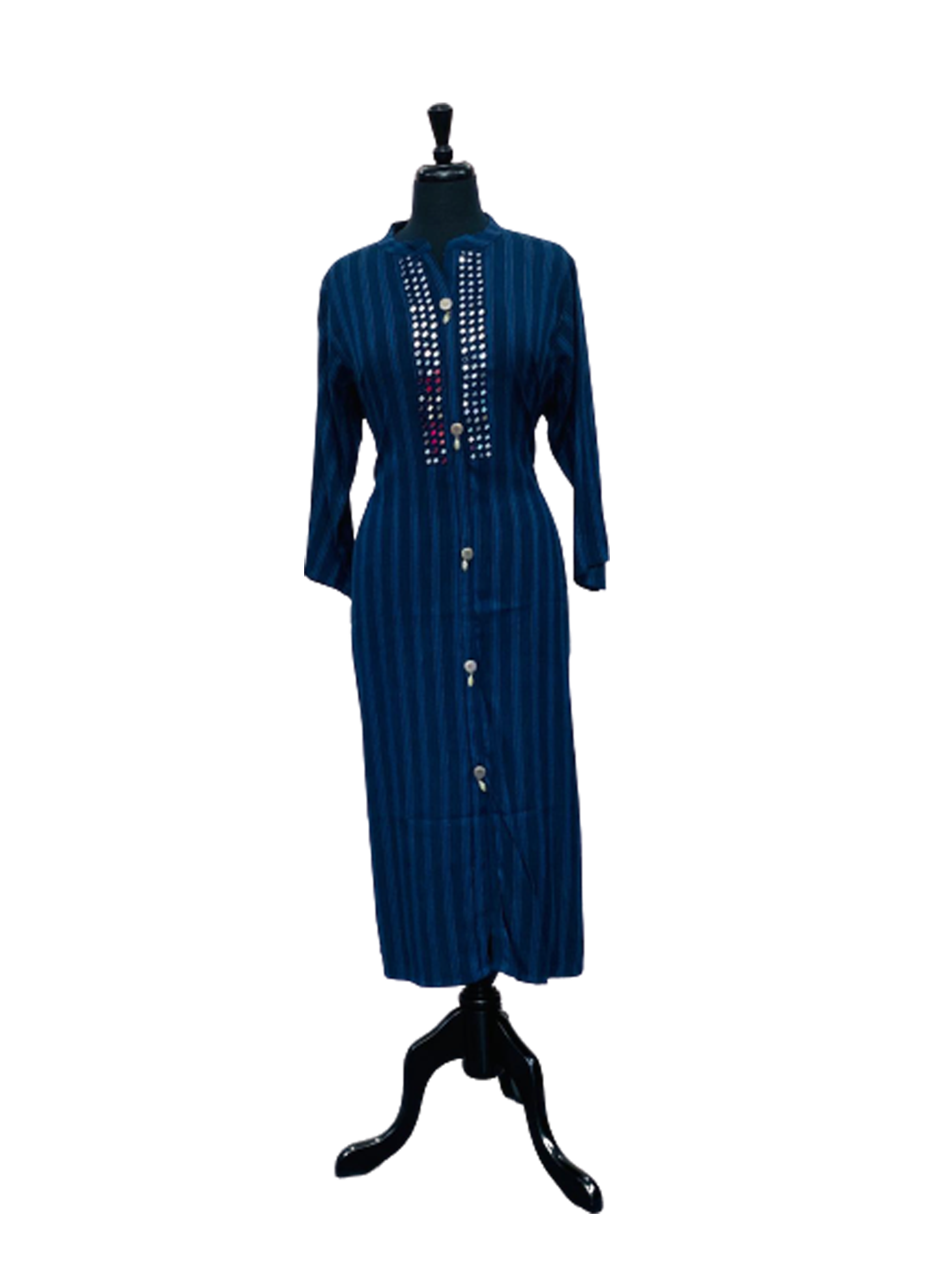 Blue Color Cross Line Kurti Design