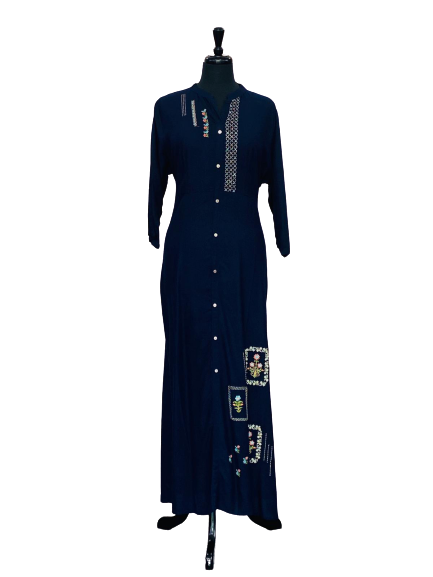 Blue Unique Pattern Design Kurti