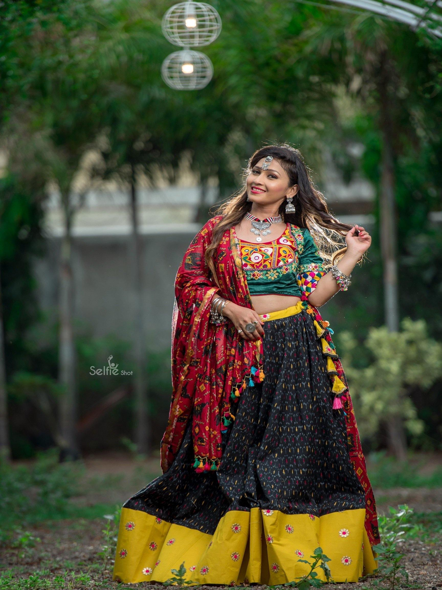 Black  Yellow Green and Red  Chaniya Choli
