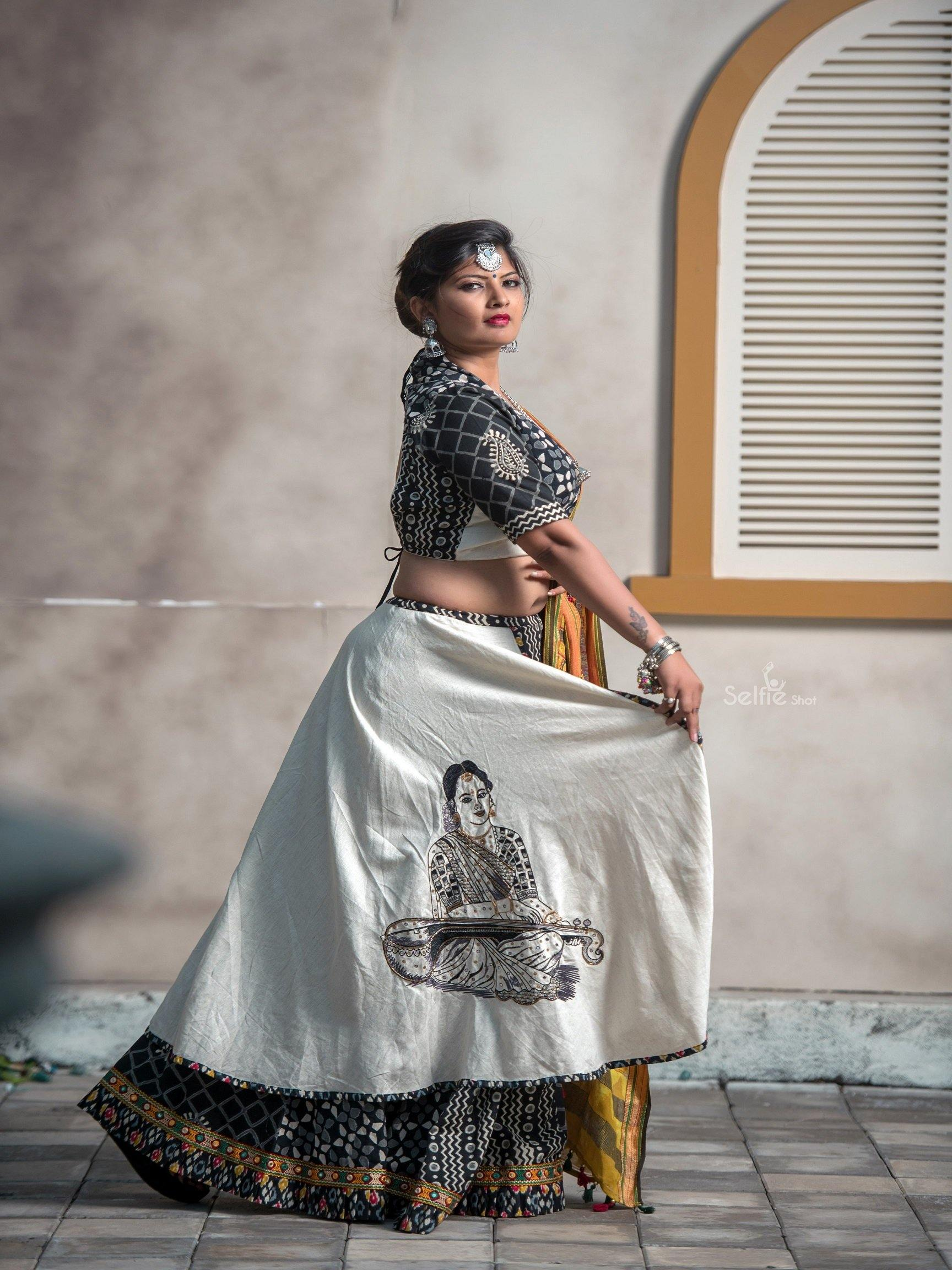 Black and White Chaniya Choli with Embroidered Figurine