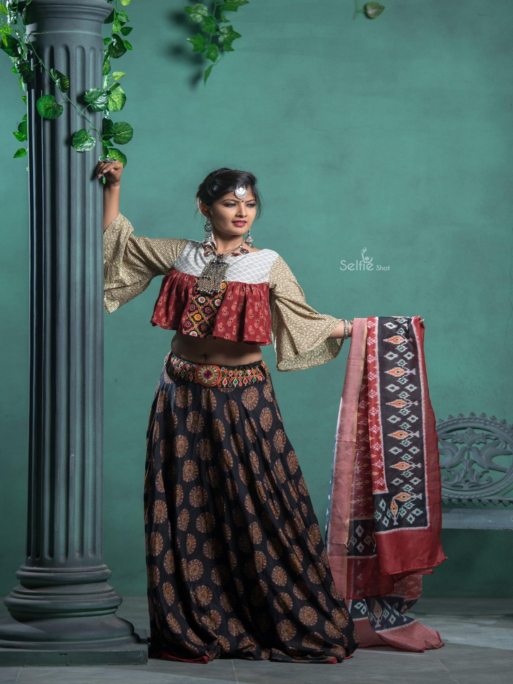 Black and Red Embroidered Chaniya Choli