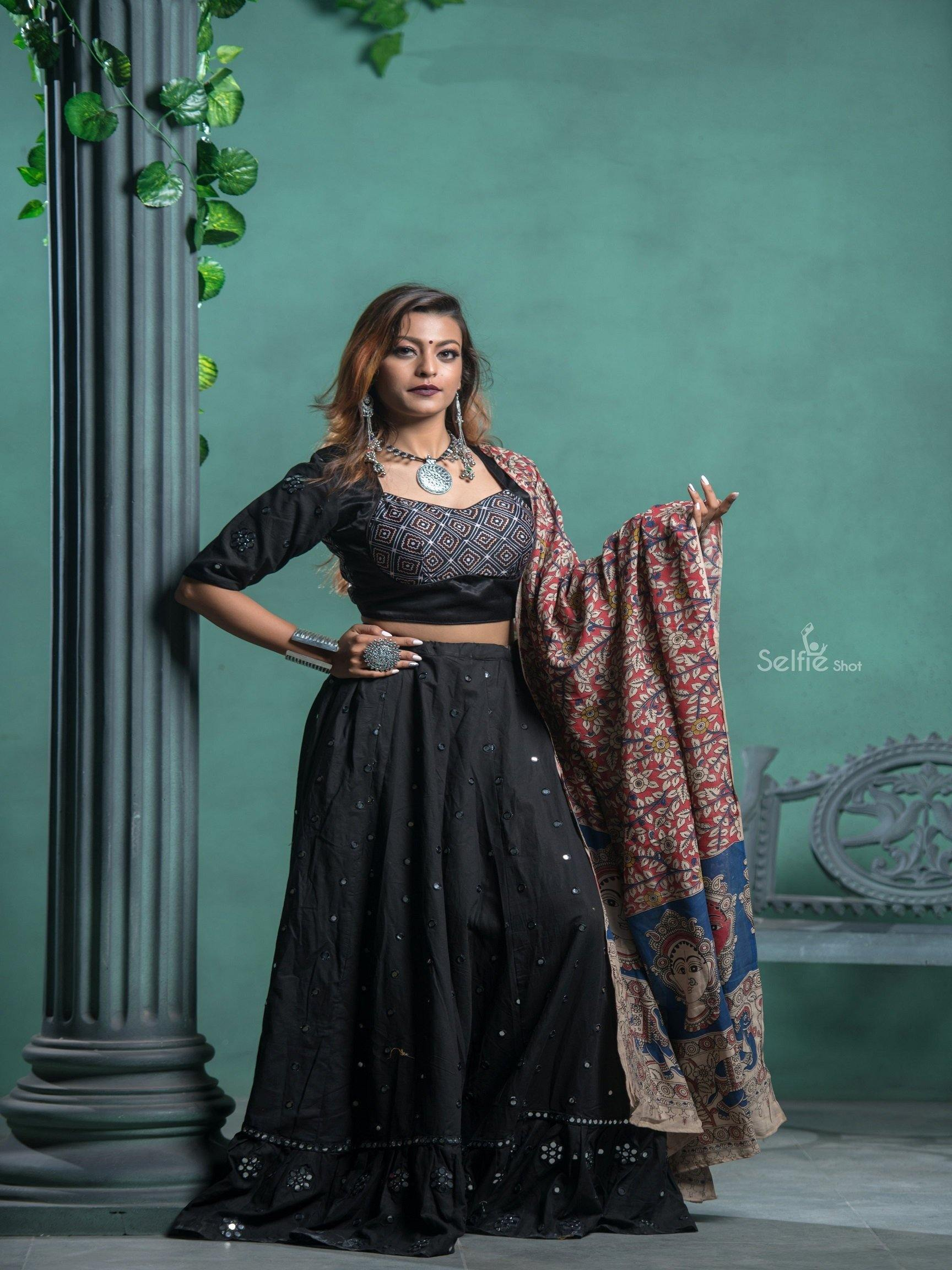 Black Chaniya Choli with Silver Embroidery