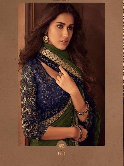 Mehendi Green and Navy Blue Saree