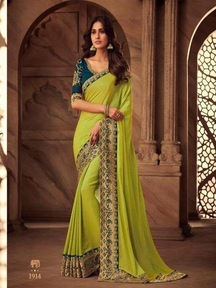 Parrot color Saree with Embroidered Blouse