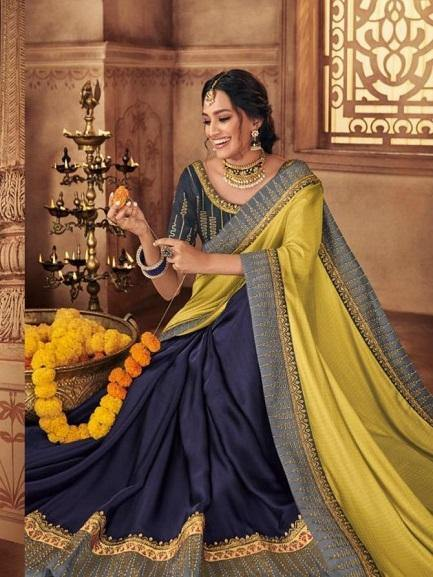Navy and Lemon Yellow Saree