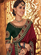 Load image into Gallery viewer, Red Color Designer Saree with Green embroidered Blouse - Jyotika Patel Designs