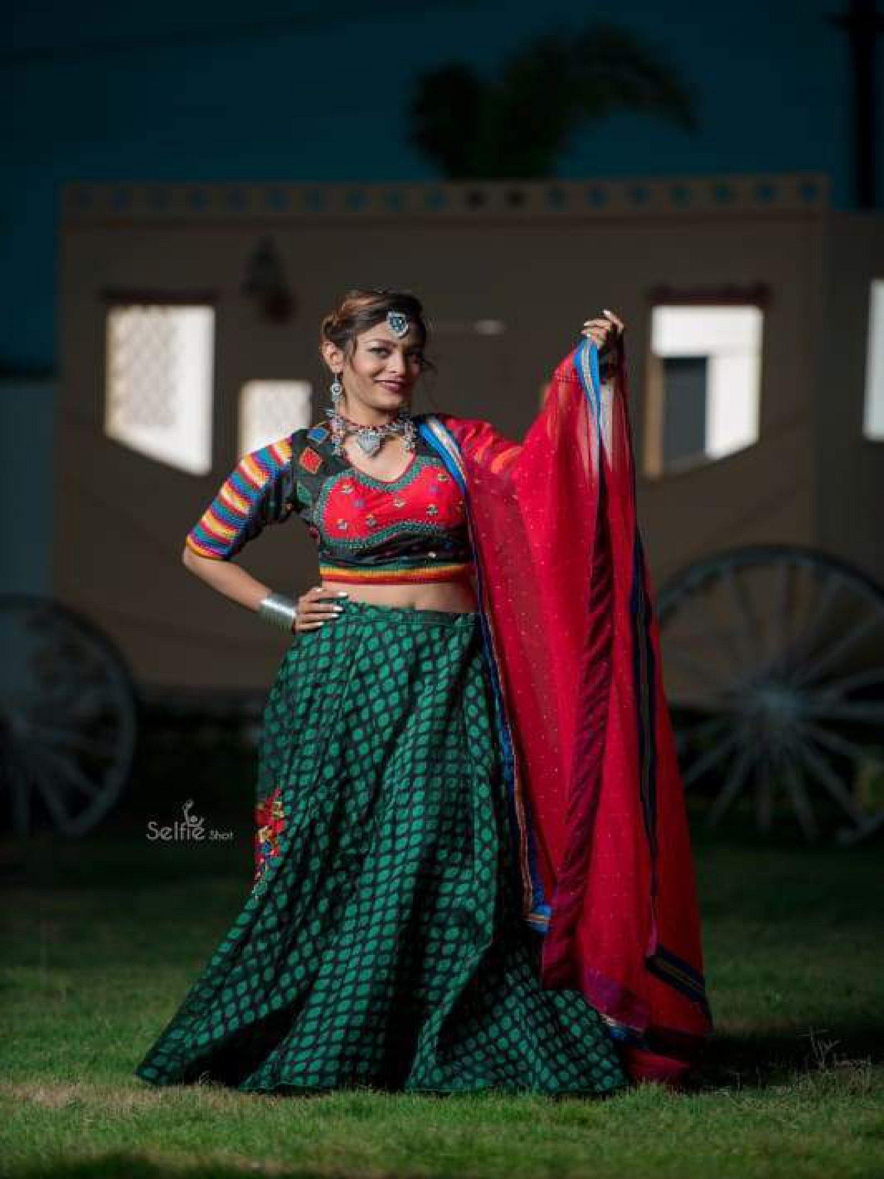 Deep Green and Red Chaniya Choli