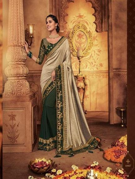 Golden Color Saree with Dark Green embroidered Blouse