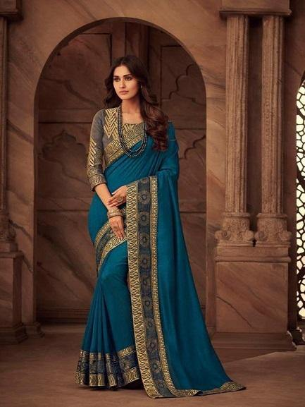 Beautiful Firozi Blue Color Saree
