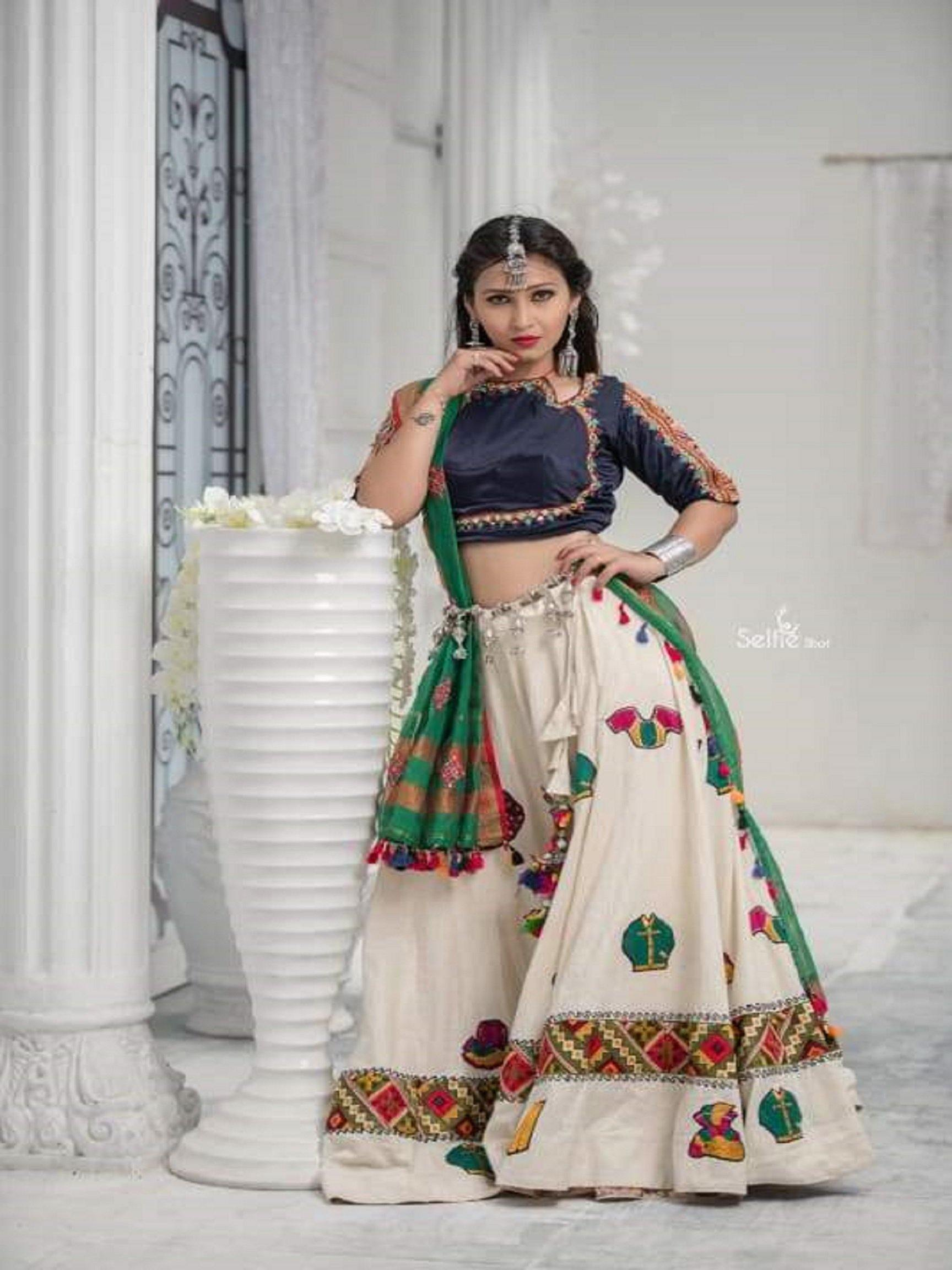 Off White Green and Navy Blue Chaniya Choli