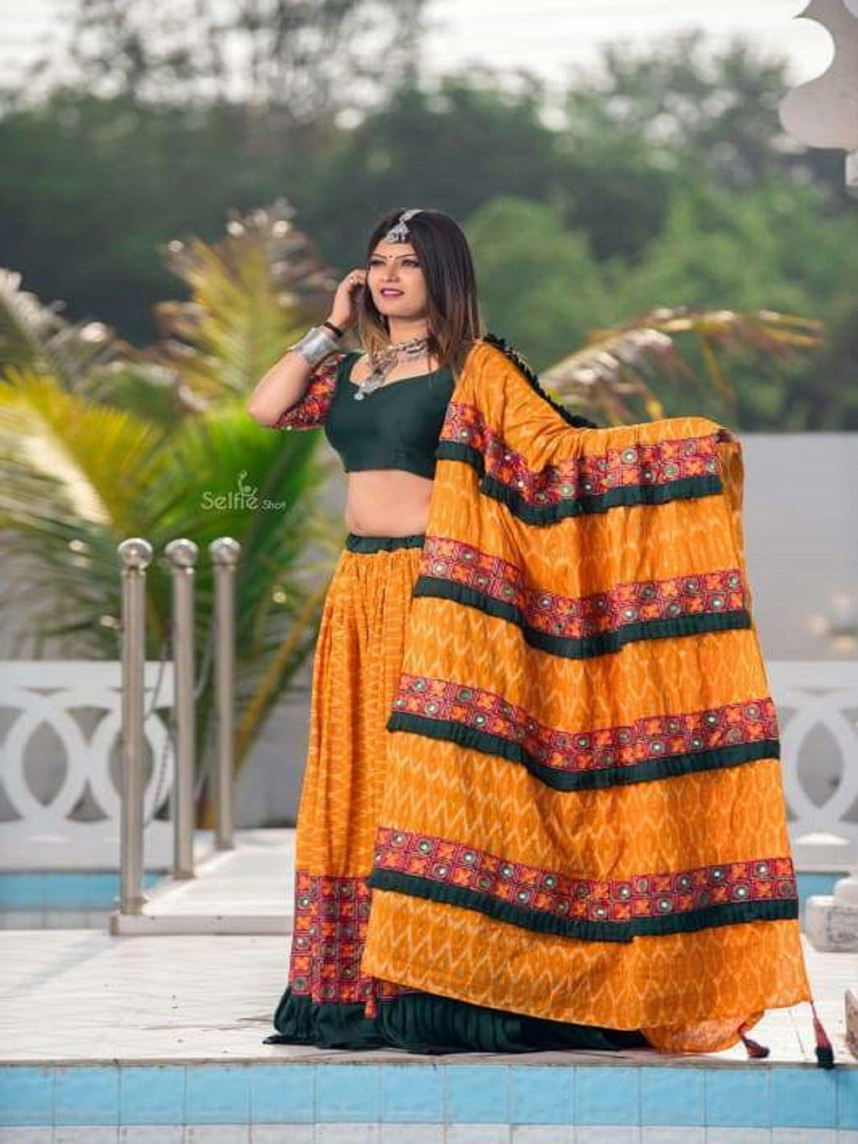 Orange and Black Chaniya Choli