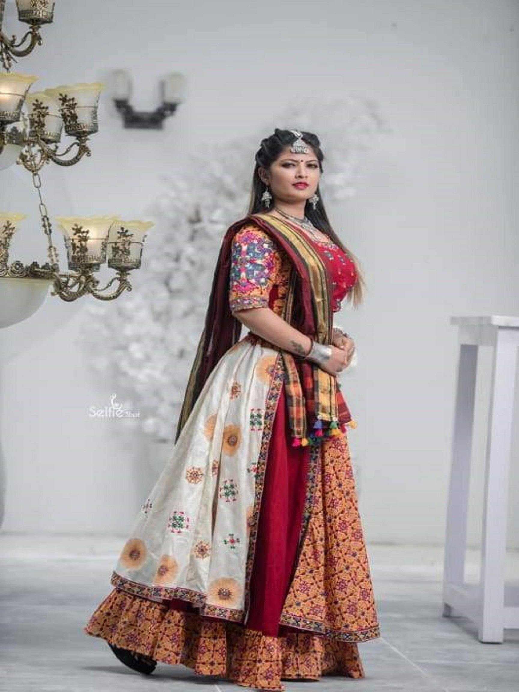 Pale Orange and Off White Chaniya Choli