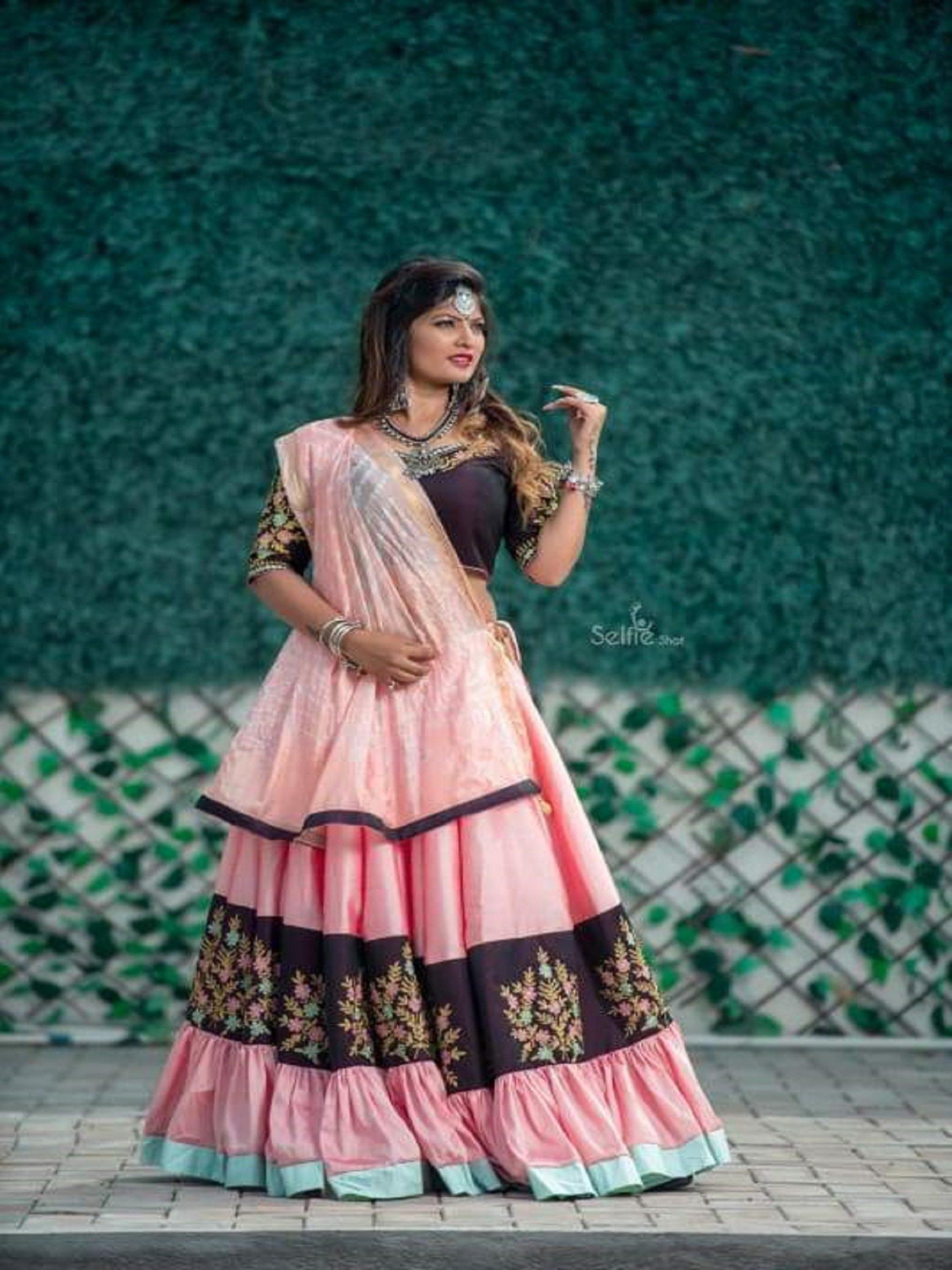 Peach and Black Chaniya Choli with Floral Embroidery