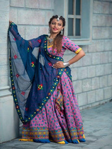 Purple and Navy Blue Chaniya Choli - Chaniya Choli