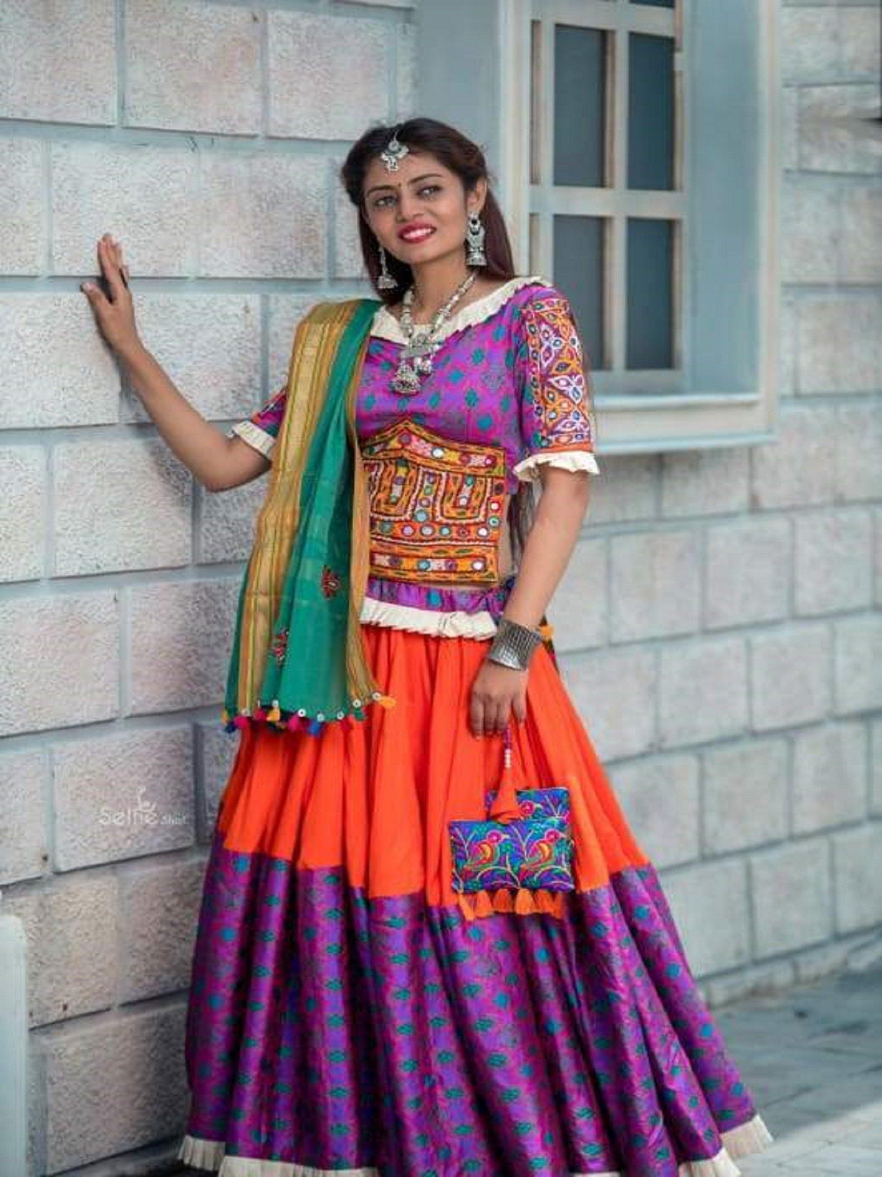 Purple and Orange Chaniya Choli