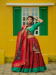 Red and Green Chaniya Choli with Patora Print - Chaniya Choli