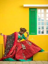 Load image into Gallery viewer, Red and Green Chaniya Choli with Patora Print - Chaniya Choli