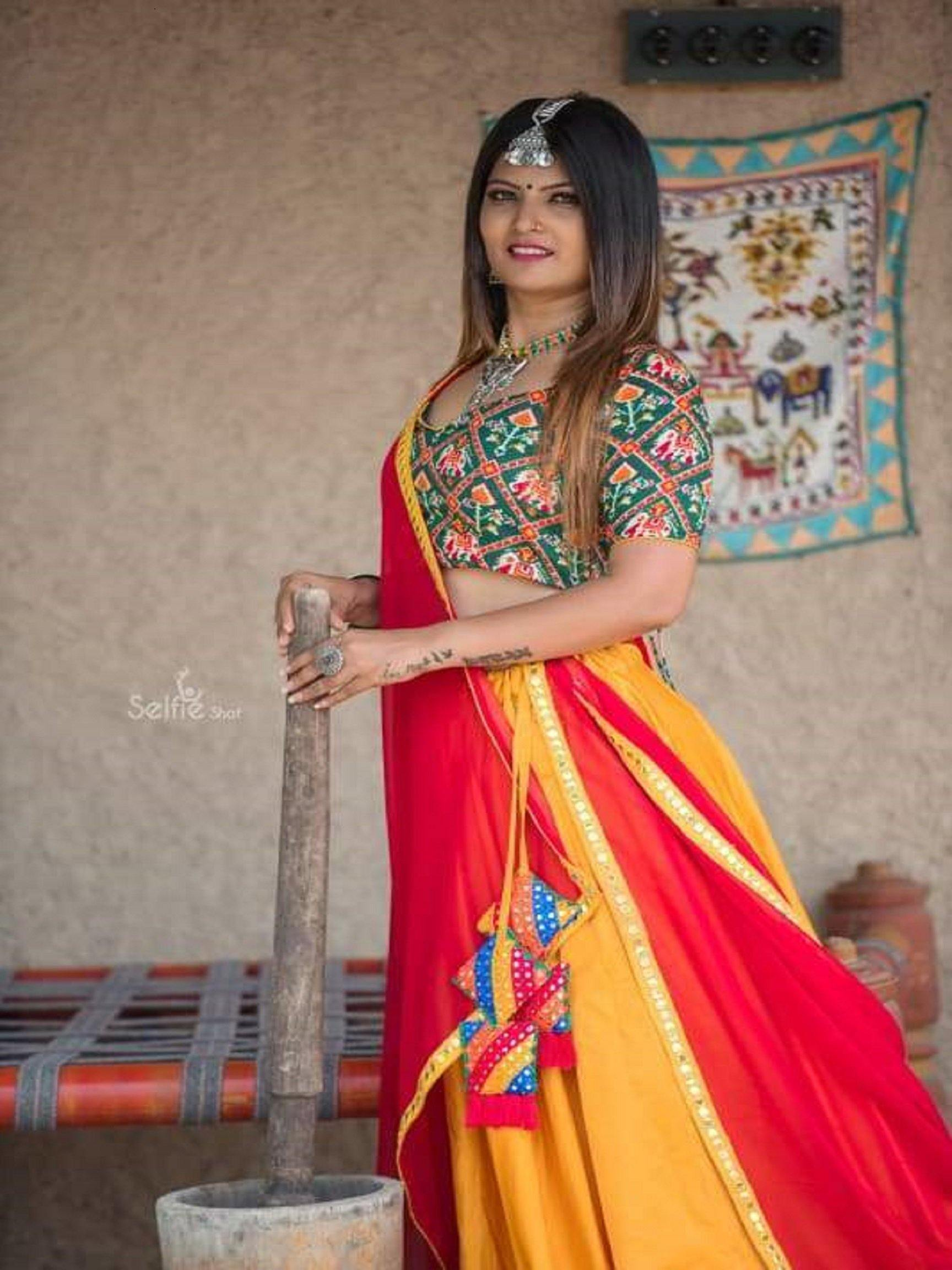 Red and Yellow Chaniya Choli