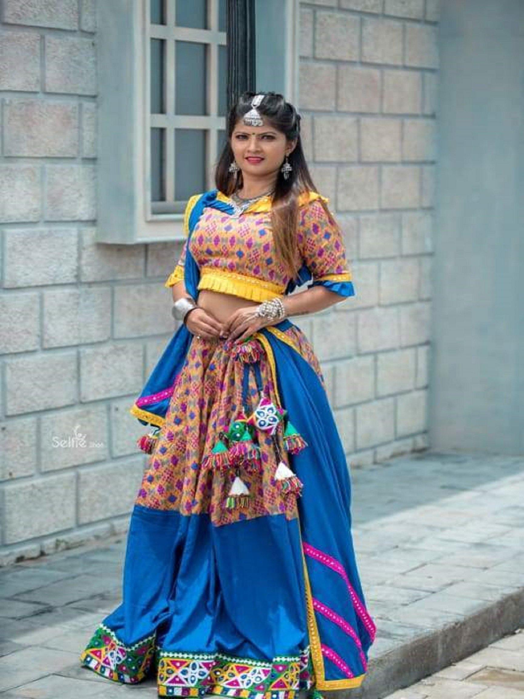 Sapphire Blue and Yellow Patora Print Chaniya Choli