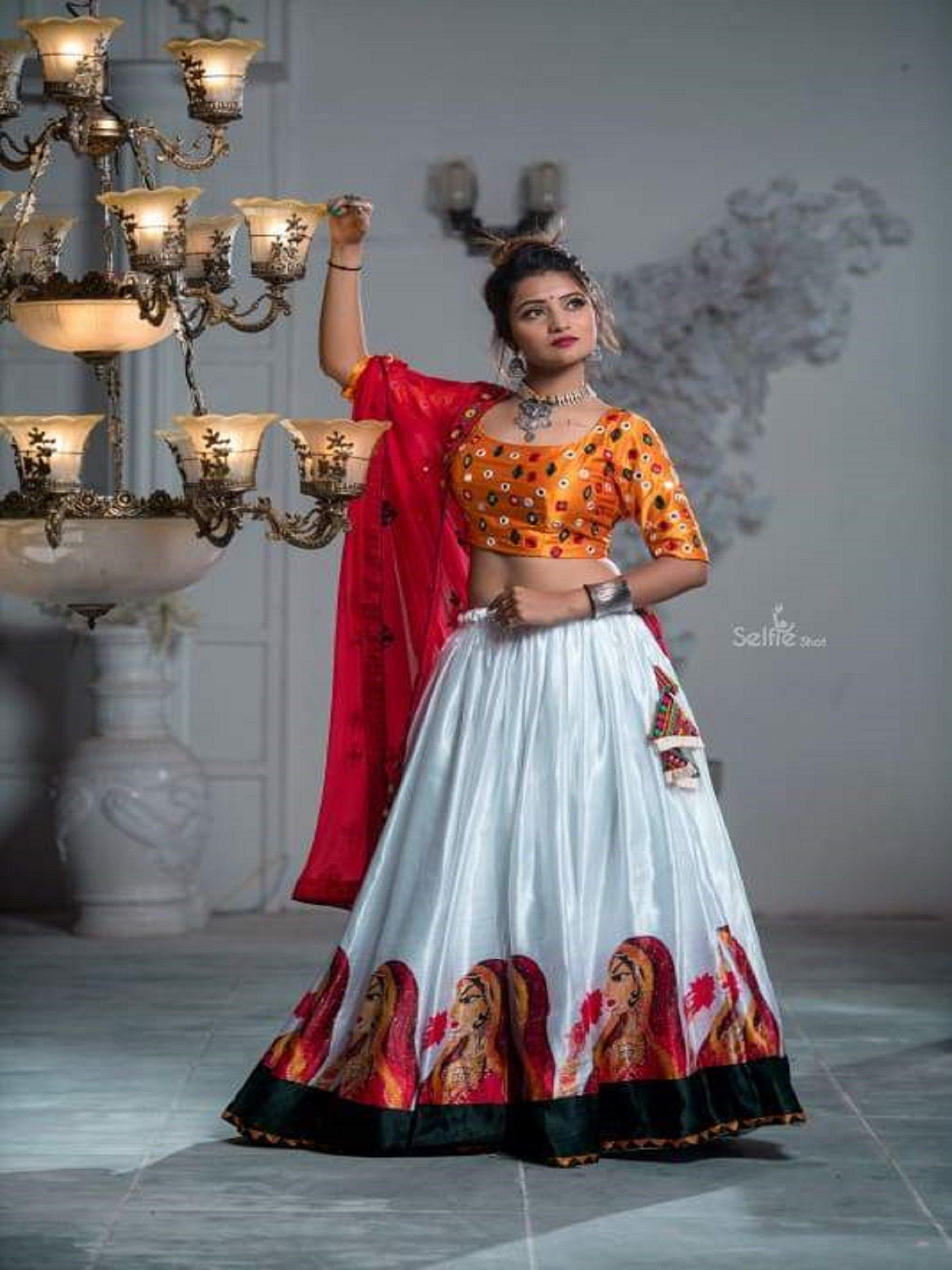 White and Yellow Chaniya Choli with Bandhani Pattern