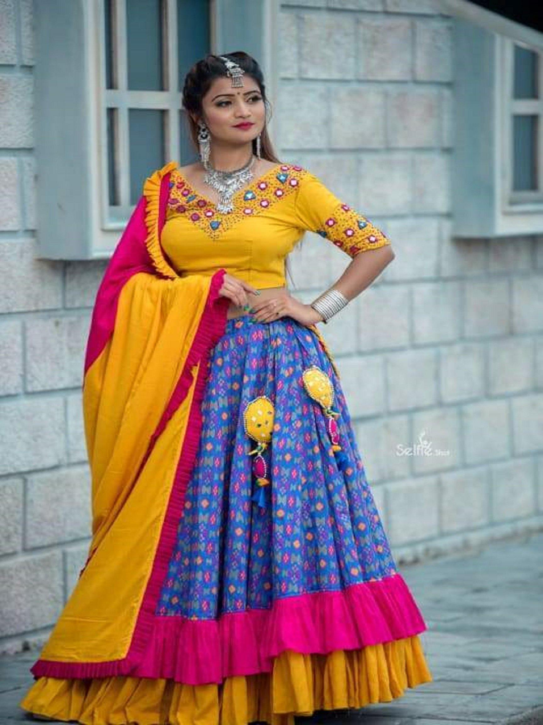 Yellow and Sapphire Blue Chaniya Choli