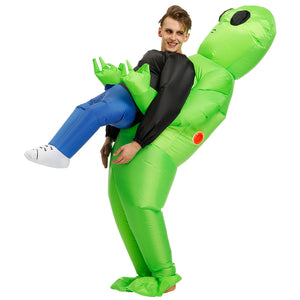 Green Alien Carrying Human Halloween Costume [67% OFF TODAY ONLY!]