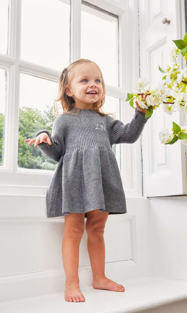 Grey Long Sleeve Knitted Dress
