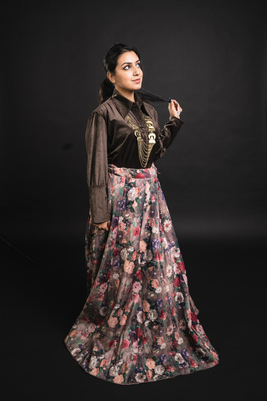 Brown Silk Floral Velvet Shirt and Skirt