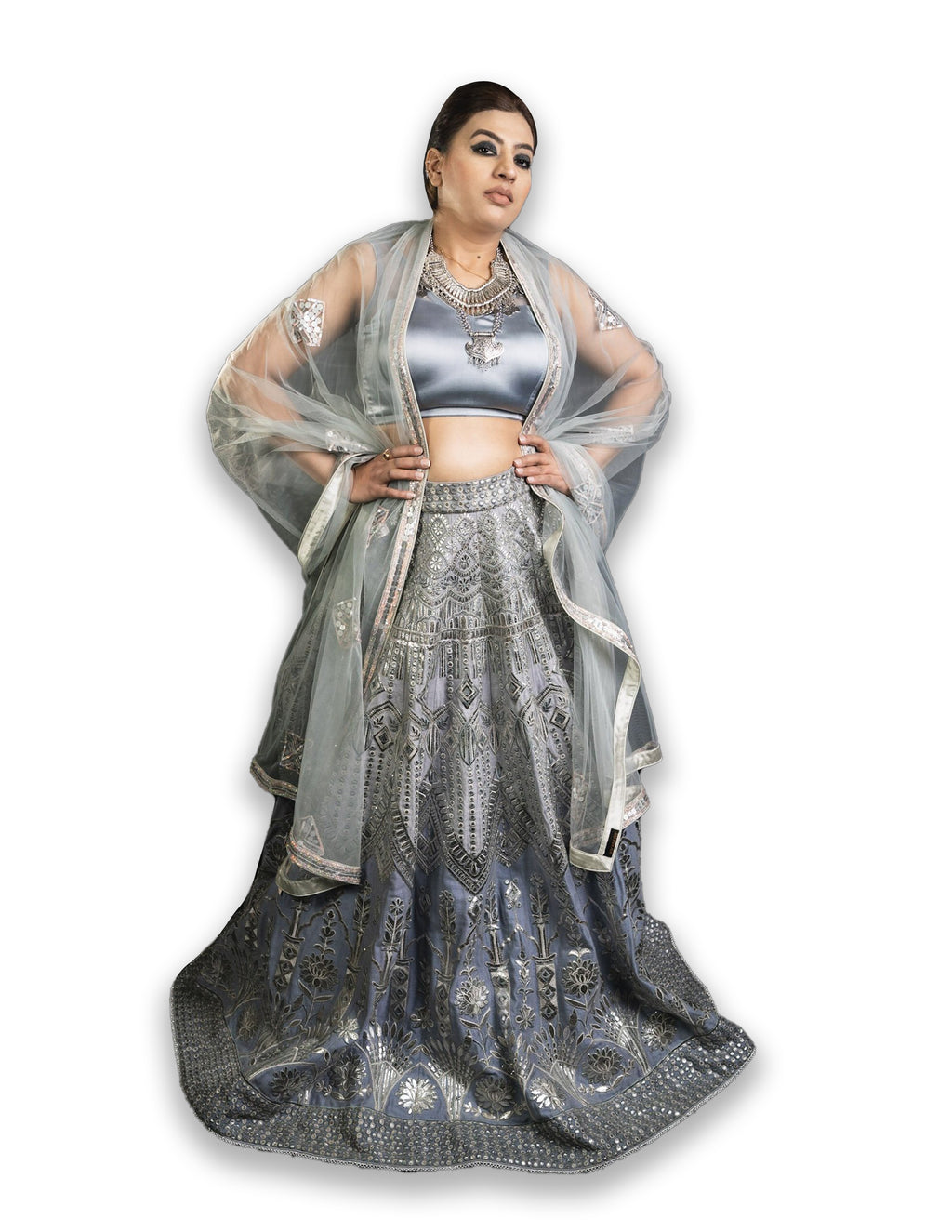 Gray Party Wear Lehenga