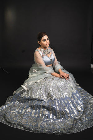 Gray Party Lehenga