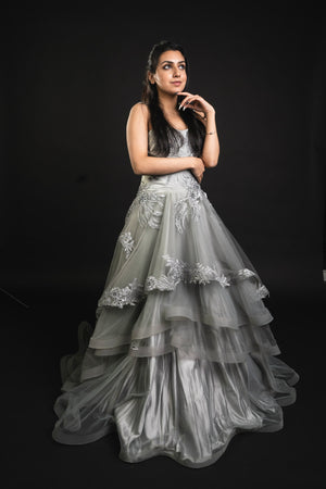 Gray Party Wear Ball Gown