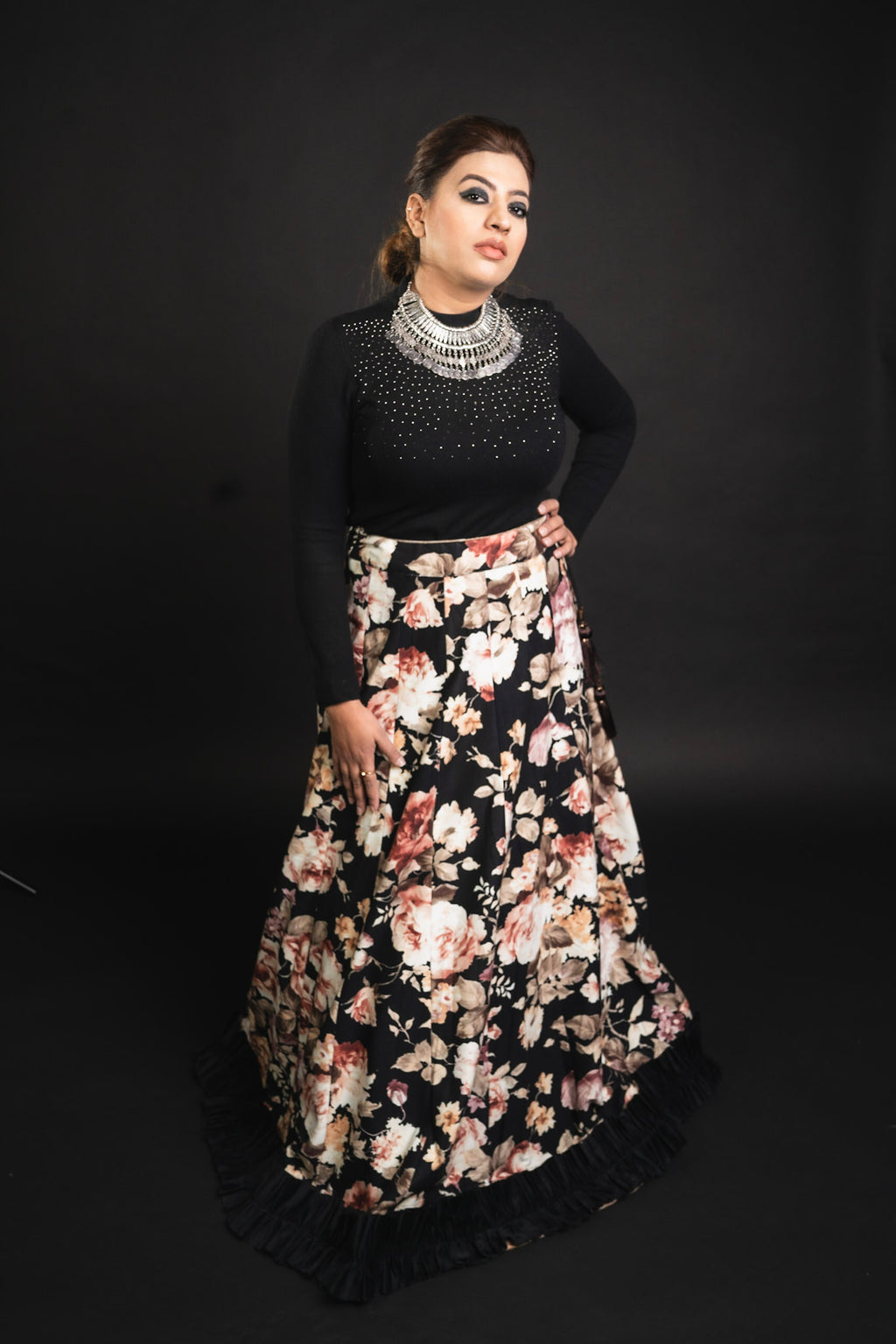 Black Silk Floral Velvet Skirt and Shirt