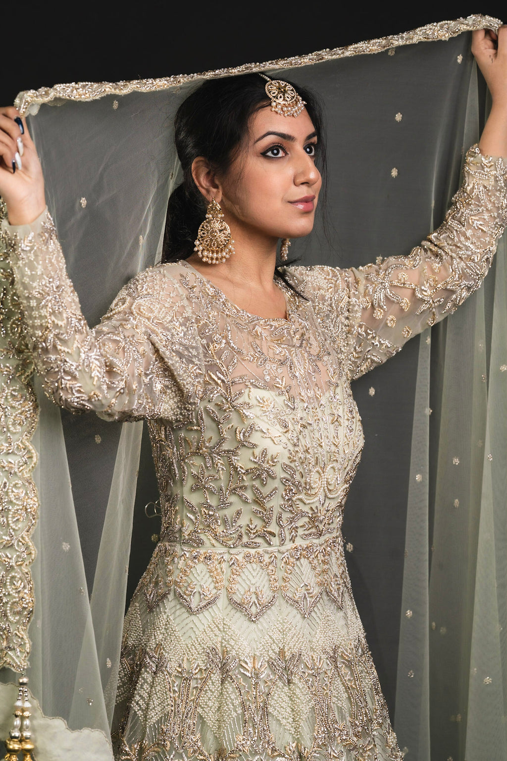 Mint Green Long Sleeve Anarkali Dress