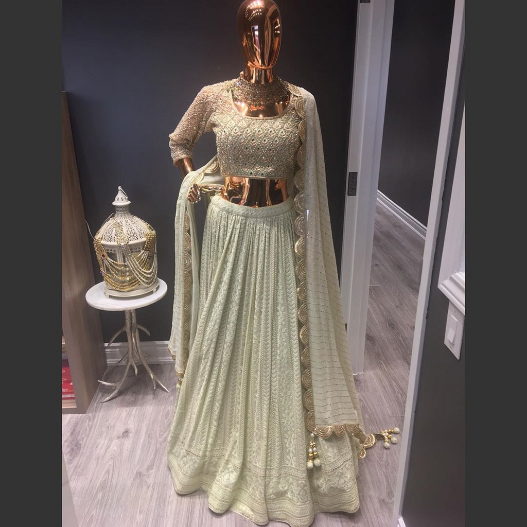 Mint Green Georgette Lehenga