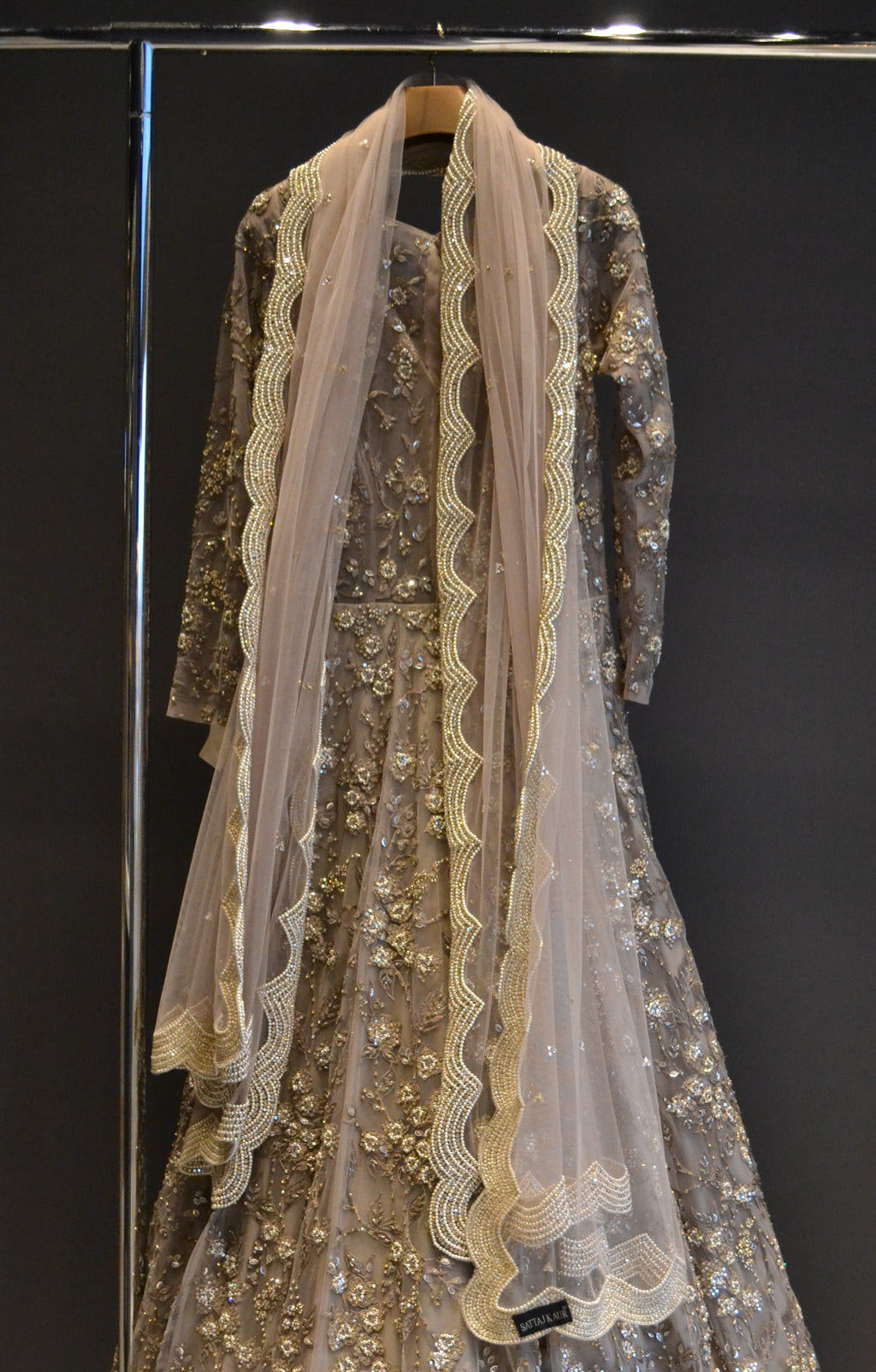 Pastel Brown Anarkali with Beautiful work