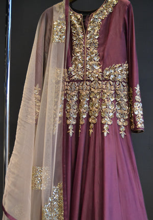 Wine Anarkali Sequence Handwork Suit