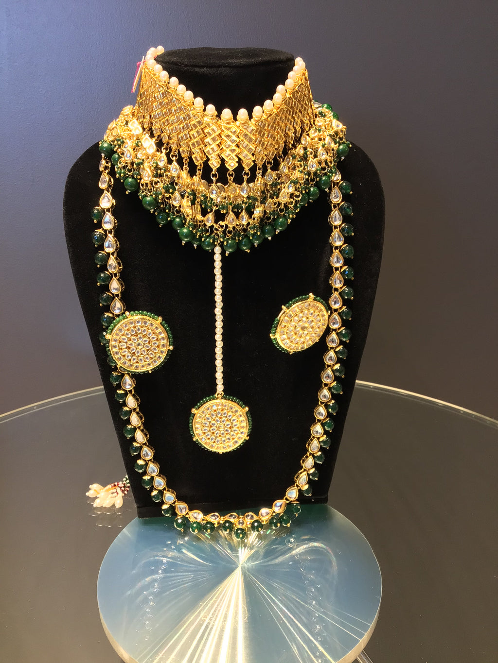 Green Kundan Choker Necklace Set