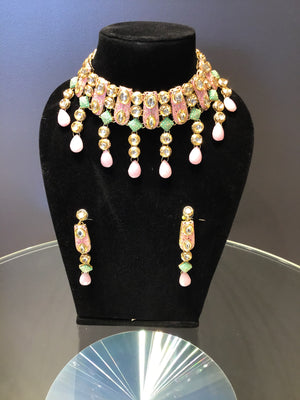 Mint Green and Pink Necklace Set