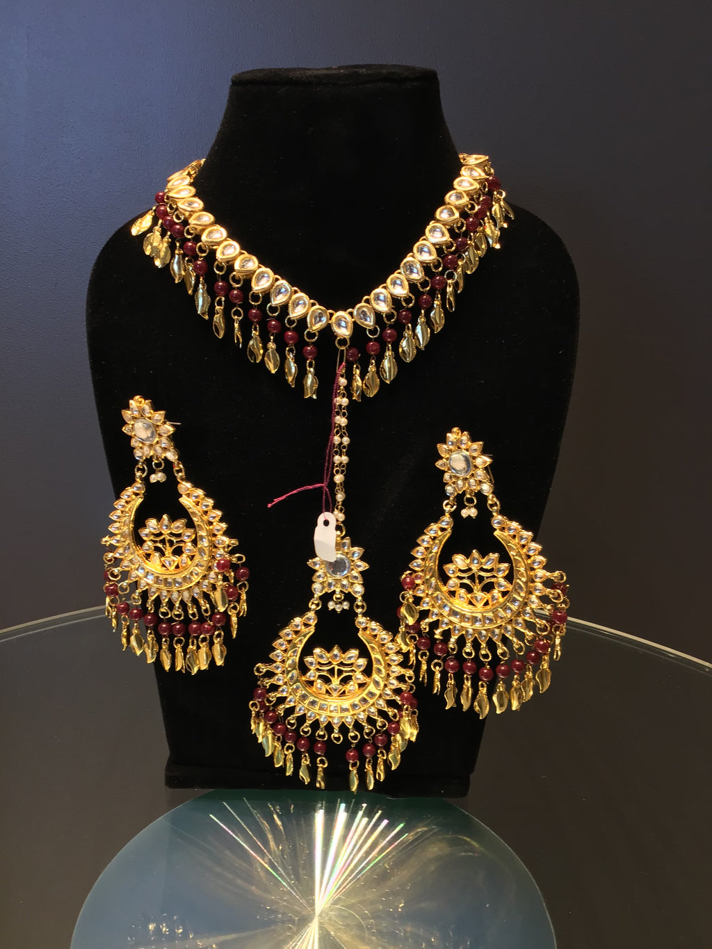 Maroon Kundan Necklace Set